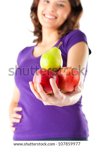 Healthy eating, woman with apples and pear