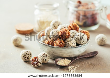 Healthy energy balls made of dried fruits and nuts. #1276663684