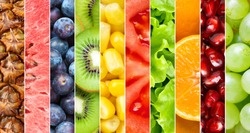 Healthy food background. Collection with different fruits, berries and vegetables