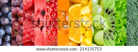 Healthy food background. Collection with different fruits, berries and vegetables #214135753