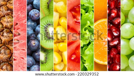 Healthy food background. Collection with different fruits, berries and vegetables #220329352