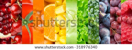 Healthy food background. Collection with different fruits, berries and vegetables #318976340