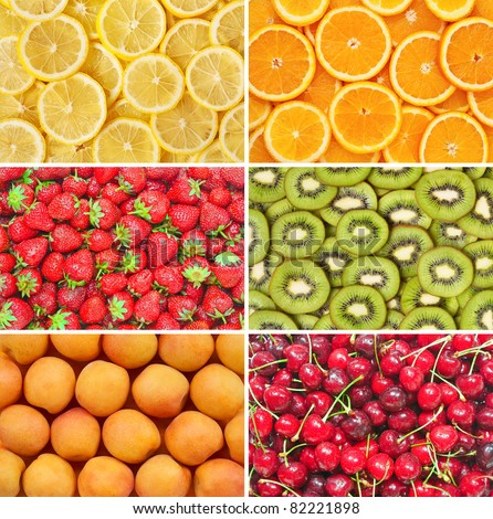 Healthy food background. Fruits and berries set. Lemon, orange, kiwi, apricot, cherry, strawberry.