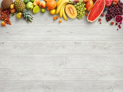 Healthy food background. Studio photo of different fruits on white wooden table. High resolution product.