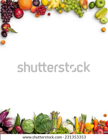 Healthy food background / studio photography of different fruits and vegetables on white backdrop