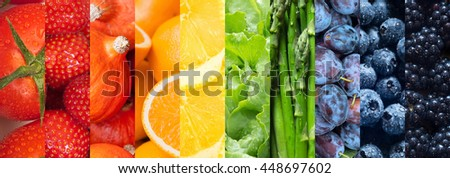 Healthy food backgrounds, ten images of strawberries, lemons, asparagus, tomatoes, plums, blueberries, pumpkins, lettuce, blackberries and oranges #448697602