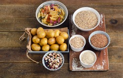 Healthy Food: Best Sources of Carbs on a rustic wooden background. Top view