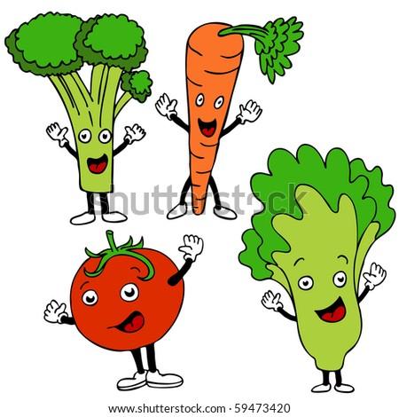 healthy food cartoon characters