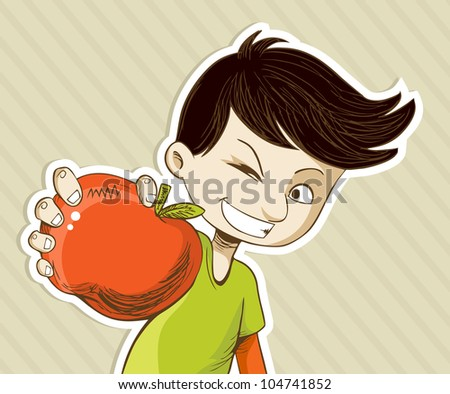 Healthy food, cartoon teenager boy with red apple.
