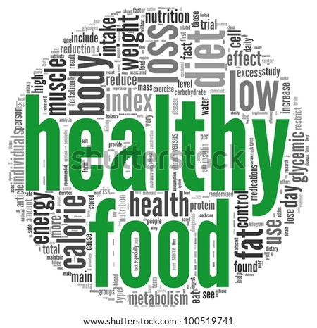 Healthy food concept words in tag cloud on white background