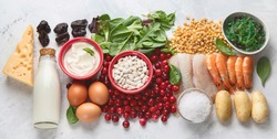 Healthy food containing iodine. Top view. Panorama, banner
