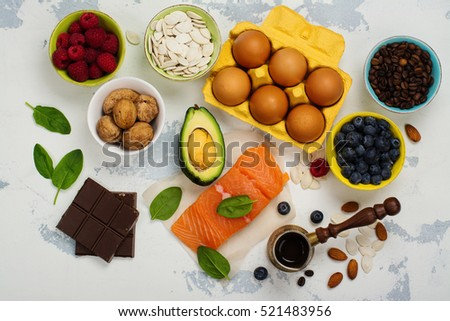 Healthy food for brain and good memory. Food background or healthy eating concept. What to eat before exams