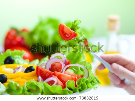 healthy food fresh vegetable salad and fork