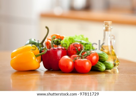 healthy food fresh vegetables on wooden table