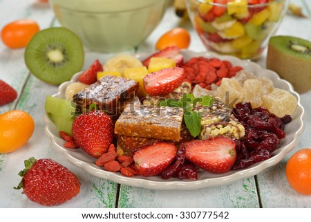 Healthy food, fruits and berries on a plate
