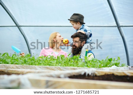healthy food. healthy food concept. happy family growing healthy food. healthy food for lovely mother. keeping plants refreshed