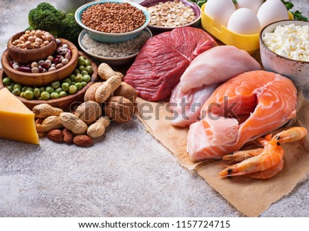 Healthy food high in protein. Meat, fish, dairy products, nuts and beans