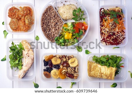 Healthy food in box. Fresh box . lifestyle, day meal plan