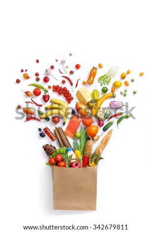 Healthy food in package / studio photography of different fruits and vegetables isoleted on white backdrop, top view. High resolution product.