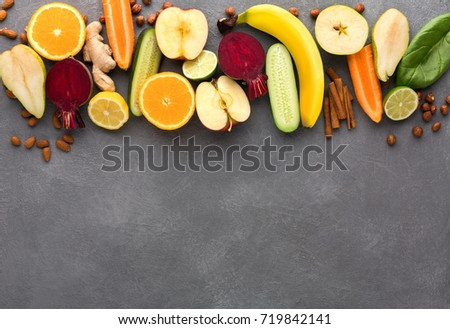 Healthy food. Ingredients for detox smoothie, vivid fruits and vegetables on gray background., top view, copy space. #719842141