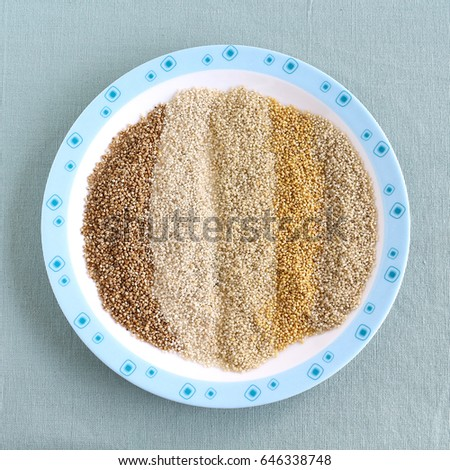 Healthy food millets. These are, from left to right, kodo, brown top, little, barnyard and foxtail millets.