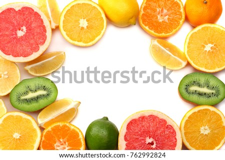 healthy food. mix sliced lemon, green lime, orange, mandarin, kiwi fruit and grapefruit with green leaf isolated on white background. top view with copy space #762992824