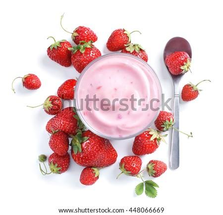Healthy food of yogurt. Strawberry Yogurt with berries. Top view, High resolution product.