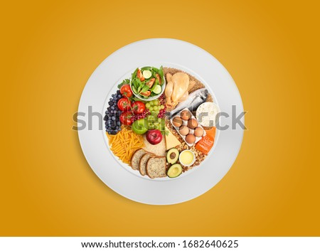 Healthy food pie chart on white plate, healthy balanced eating concept. Food sources of carbohydrates, proteins and fats in proper proportions for diet and nutrition planning. Top view