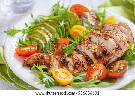 Healthy food. Salad plate with colorful tomatoes, chicken breast and avocado #556656691