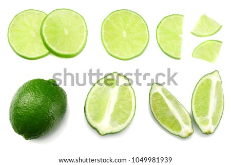 healthy food. sliced lime isolated on white background top view #1049981939