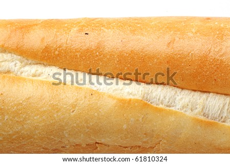 Healthy food. The closeup of french baguette