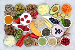 Healthy food to treat irritable bowel syndrome with health foods & herbs used in natural & chinese herbal medicine high in antioxidants, dietary fibre, vitamins, minerals, omega 3 and protein.