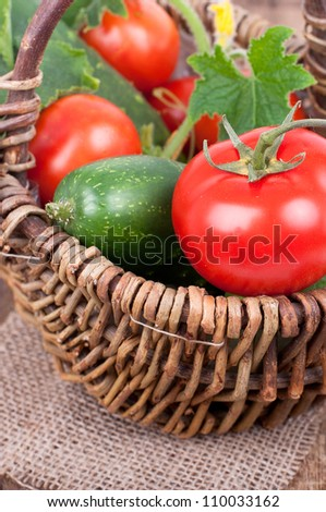 Healthy food vegetables, Organic vegetable, own harvest in a basket