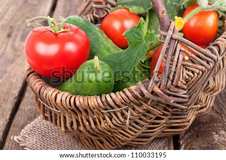 Healthy food vegetables, Organic vegetable, own harvest in a basket - stock photo