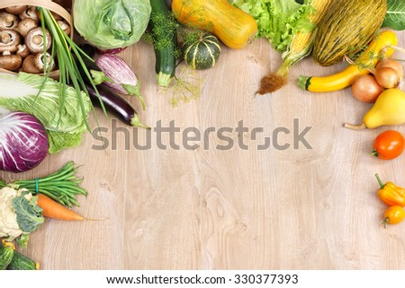 Healthy foods background / high resolution product, studio photography of different fruits and vegetables on wooden table. Space for your text. high resolution product