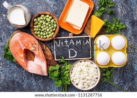 Healthy foods containing vitamin D. Top view