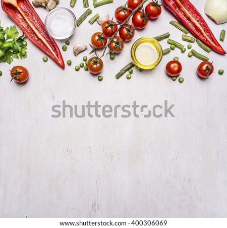 Healthy foods, cooking and vegetarian concept summer vegetables border ,place for text on wooden rustic background top view