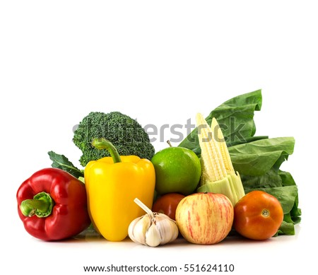 Shutterstock Healthy foods - fresh vegetables and fruits on white background with space
