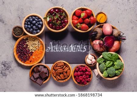Healthy foods high in antioxidants, top view. Сток-фото ©