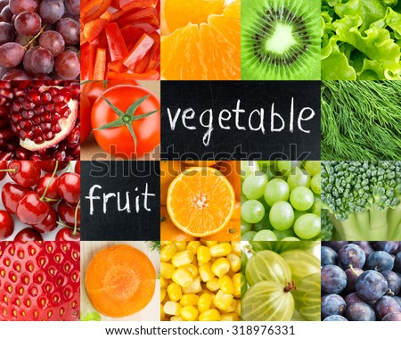 Healthy fresh color food. Fruits and vegetables background