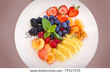Healthy fresh fruits in a plate