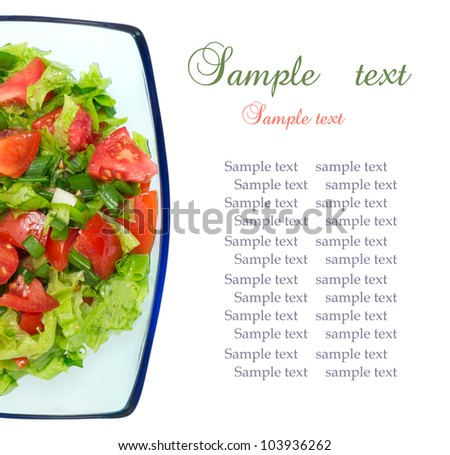 Healthy Fresh Salad in the plate with a fork, isolated on a white background.