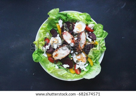 healthy fresh vegetable salad with balsamic chicken and cheese #682674571