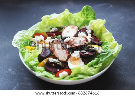 healthy fresh vegetable salad with balsamic chicken and cheese #682674616