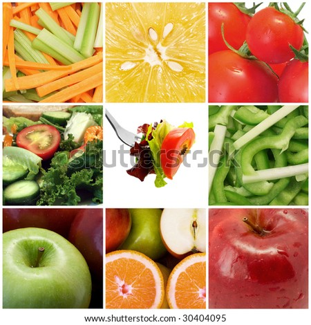 healthy fruit and vegetables collage