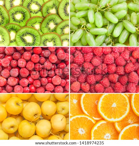 Healthy fruits and berries background. Assorted set fresh ripe food. Orange, kiwi, grapes, apples, raspberries. Summer super sale banner. Top view. #1418974235