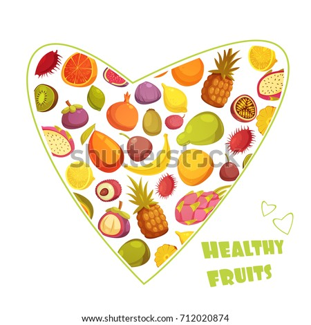 Healthy fruits diet advertisement poster with hart shaped assortment of pear banana grapefruit and pineapple abstract vector illustration
