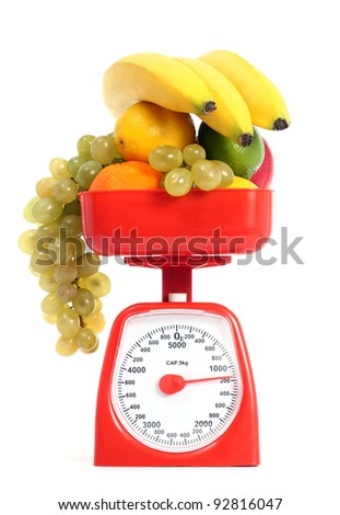Healthy fruits with scale