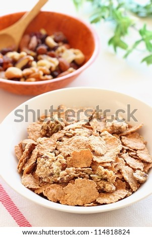 Healthy granola  breakfast with dried fruits, nuts and seeds