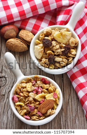 Healthy granola cereal with nuts and berries.